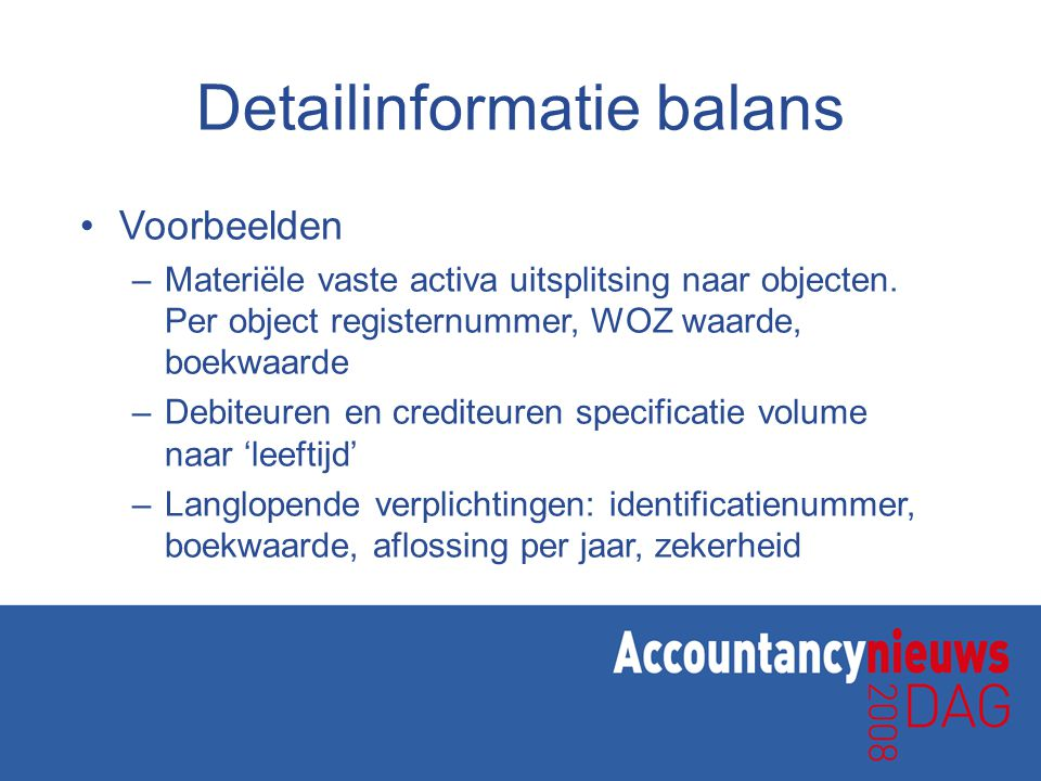 Detailinformatie balans