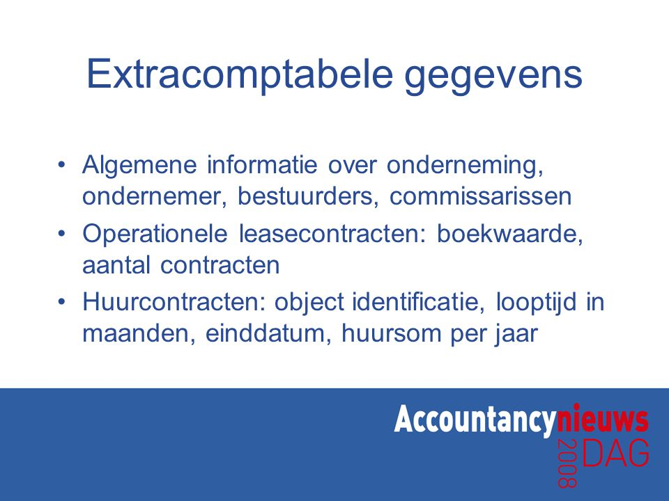 Extracomptabele gegevens