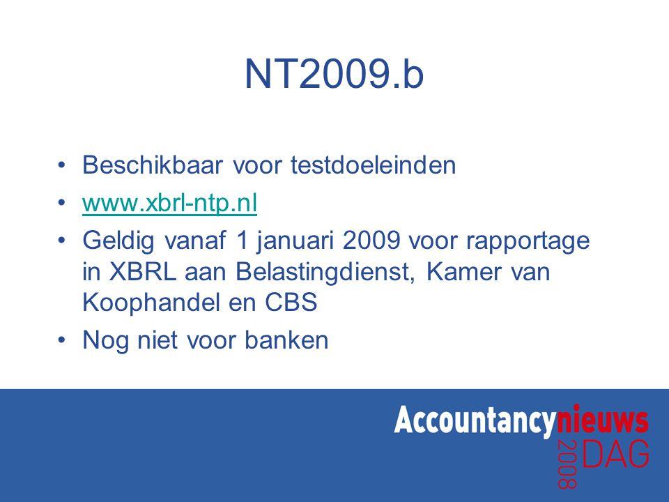 NT2009.b Beschikbaar voor testdoeleinden www.xbrl-ntp.nl