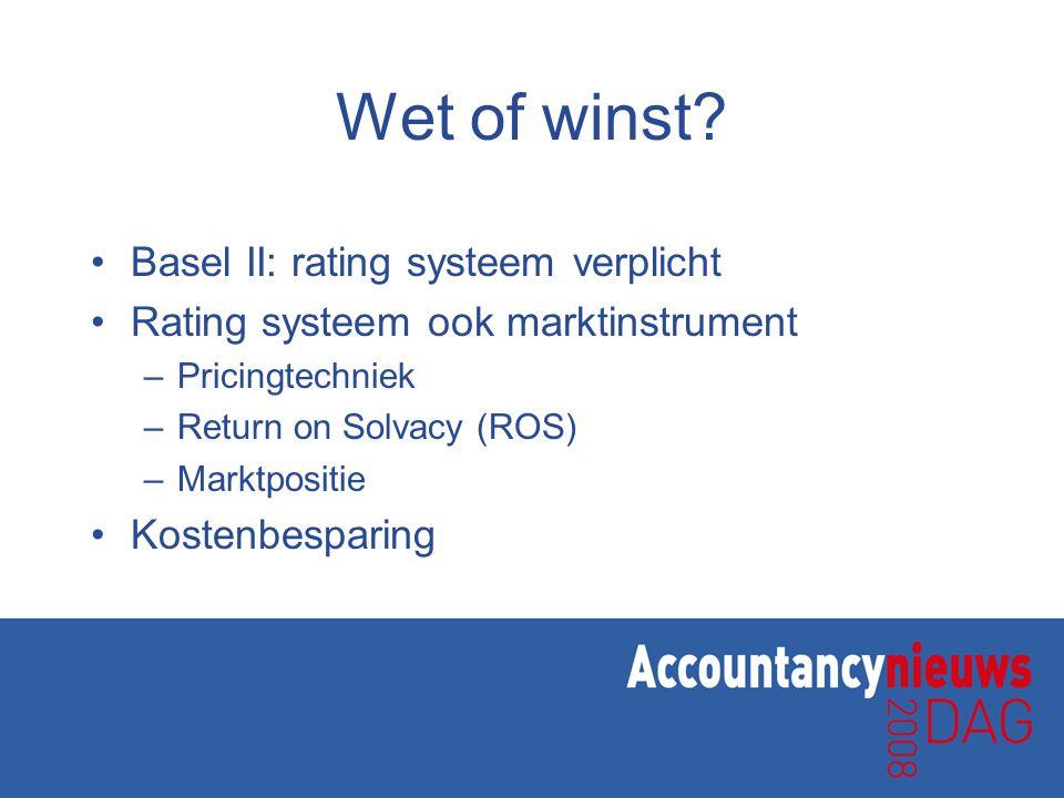 Wet of winst Basel II: rating systeem verplicht