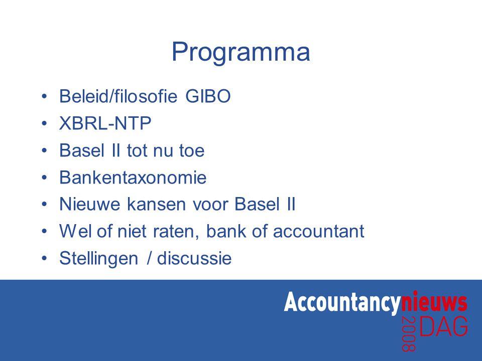 Programma Beleid/filosofie GIBO XBRL-NTP Basel II tot nu toe