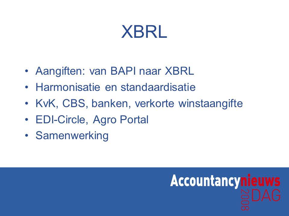 XBRL Aangiften: van BAPI naar XBRL Harmonisatie en standaardisatie