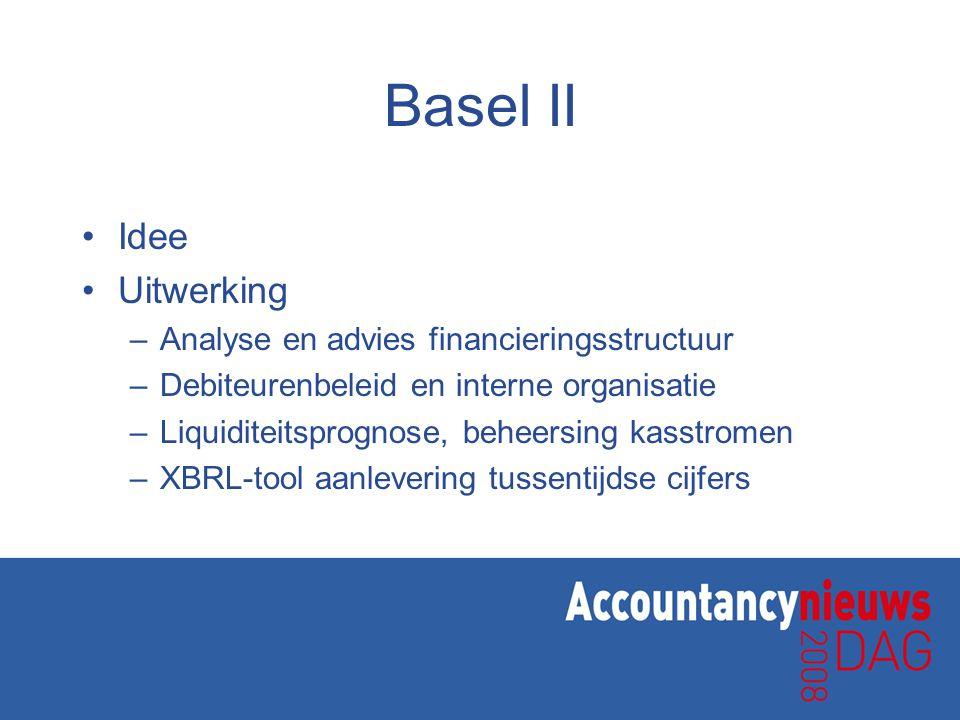 Basel II Idee Uitwerking Analyse en advies financieringsstructuur