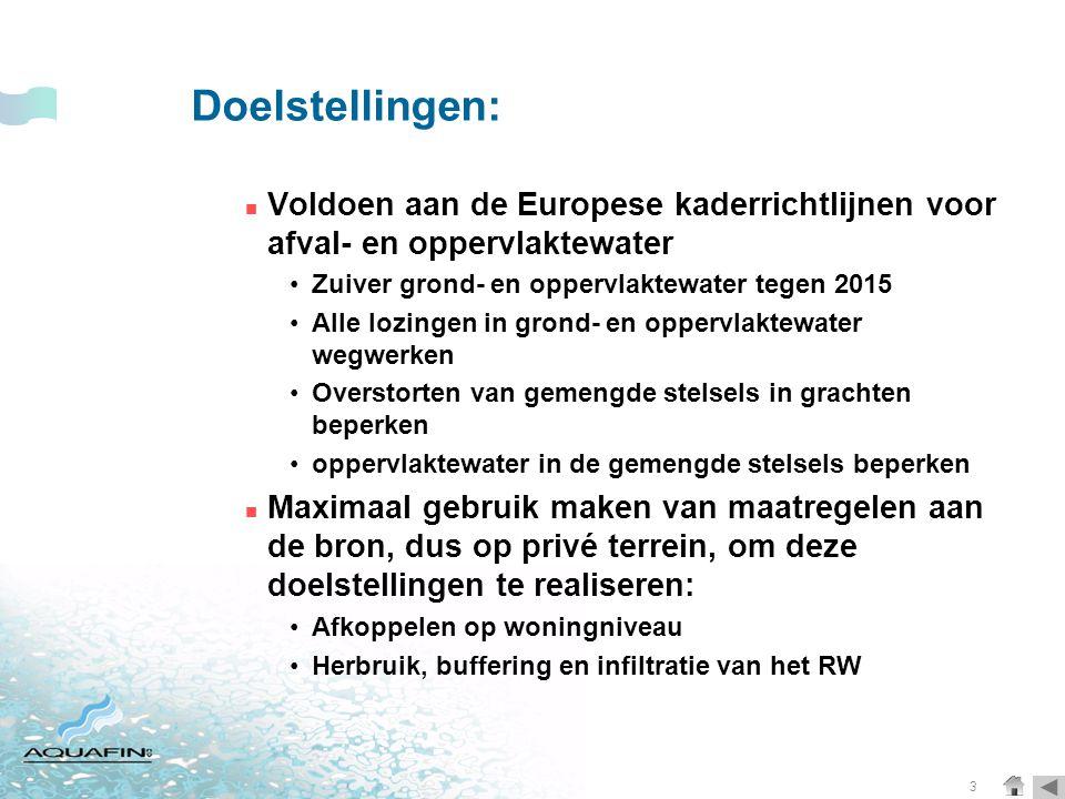 Doelstellingen: Voldoen aan de Europese kaderrichtlijnen voor afval- en oppervlaktewater. Zuiver grond- en oppervlaktewater tegen 2015.