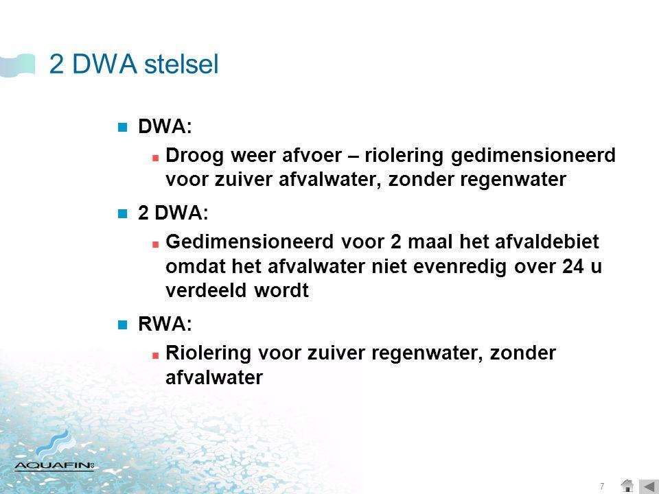 2 DWA stelsel DWA: Droog weer afvoer – riolering gedimensioneerd voor zuiver afvalwater, zonder regenwater.