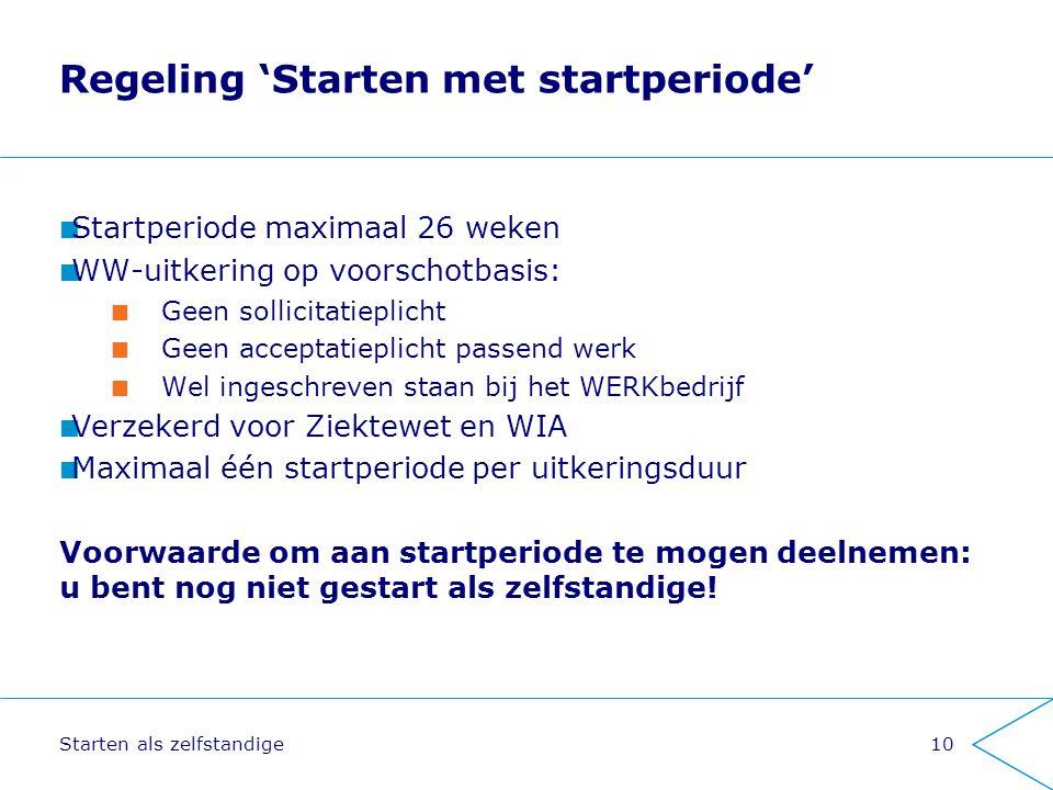 Regeling 'Starten met startperiode'