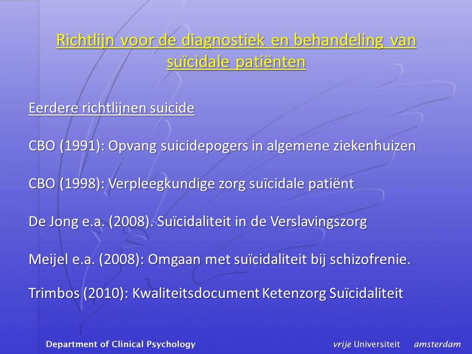 Richtlijn voor de diagnostiek en behandeling van suïcidale patiënten
