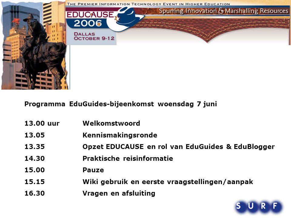 Programma EduGuides-bijeenkomst woensdag 7 juni