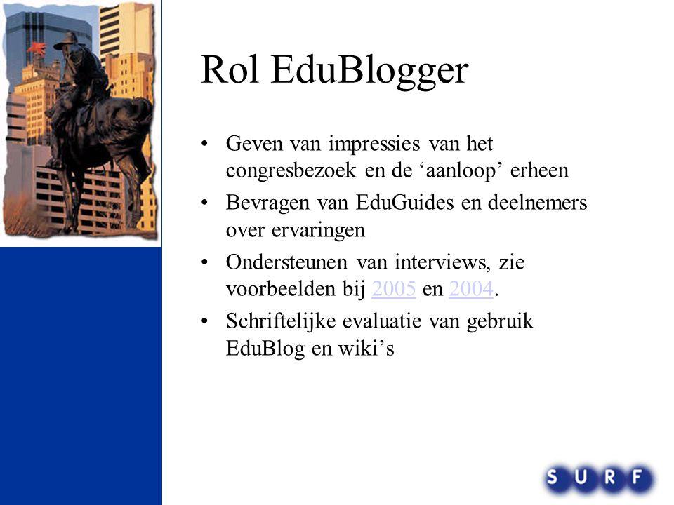 Rol EduBlogger Geven van impressies van het congresbezoek en de 'aanloop' erheen. Bevragen van EduGuides en deelnemers over ervaringen.