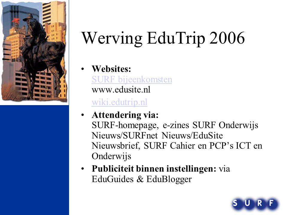 Werving EduTrip 2006 Websites: SURF bijeenkomsten www.edusite.nl