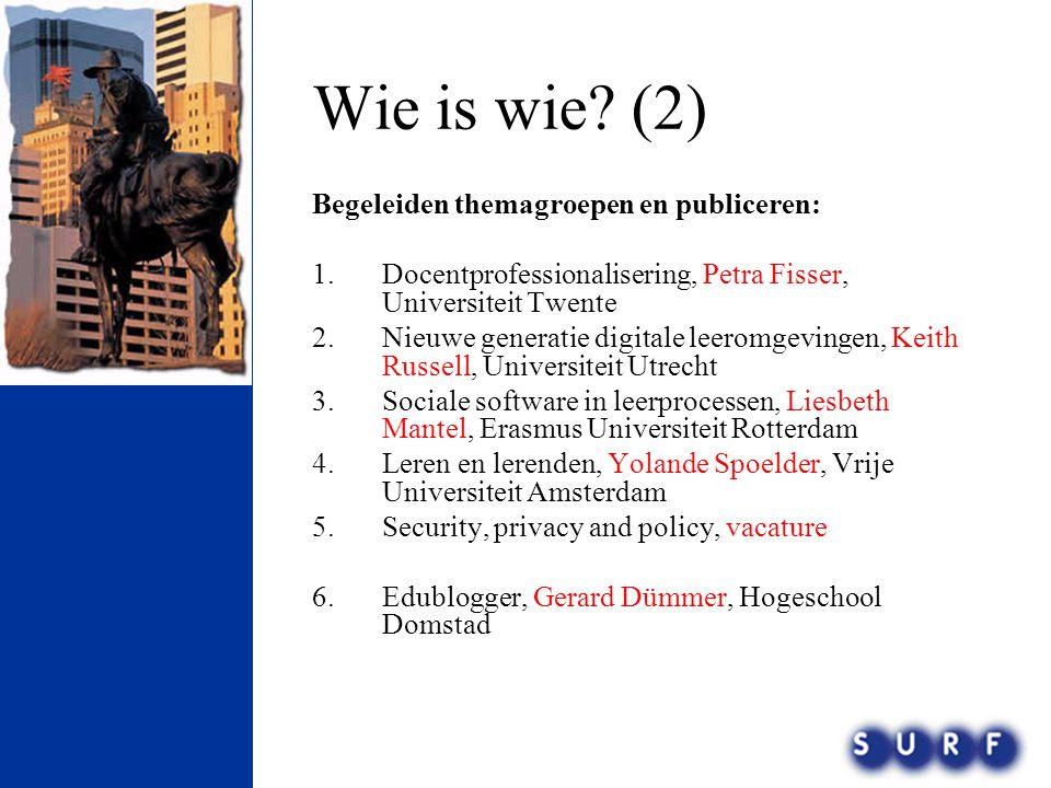 Wie is wie (2) Begeleiden themagroepen en publiceren: