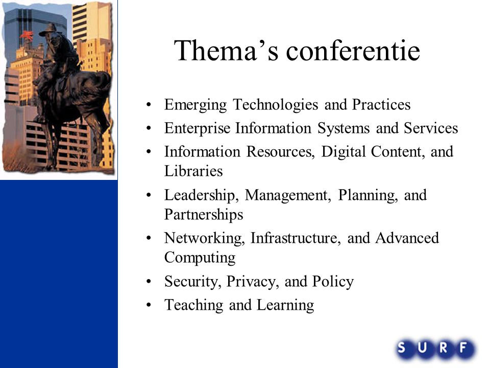 Thema's conferentie Emerging Technologies and Practices