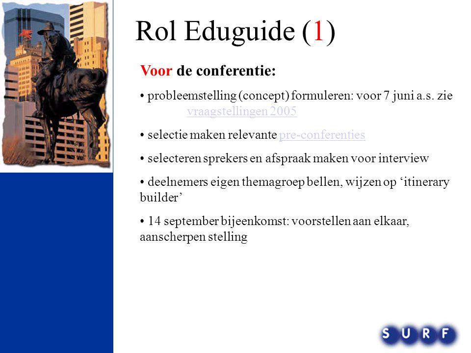 Rol Eduguide (1) Voor de conferentie: