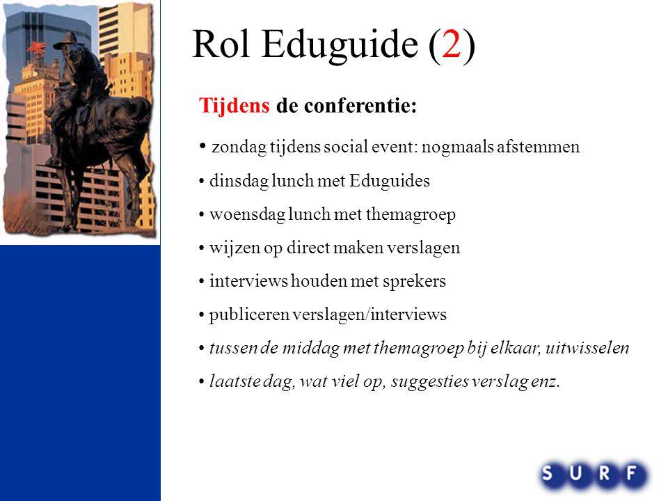 Rol Eduguide (2) Tijdens de conferentie: