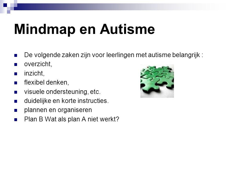 Mindmap en Autisme De volgende zaken zijn voor leerlingen met autisme belangrijk : overzicht, inzicht,