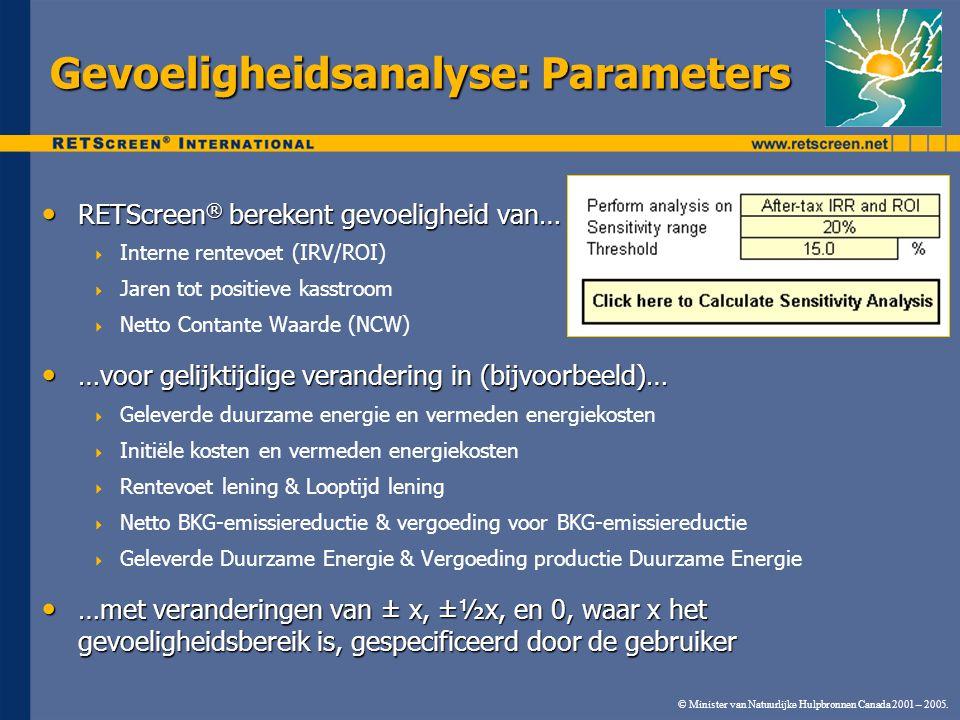 Gevoeligheidsanalyse: Parameters