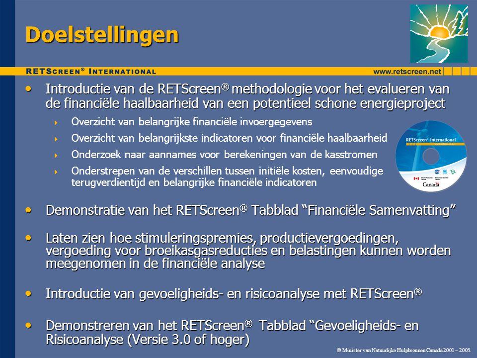 Doelstellingen Introductie van de RETScreen® methodologie voor het evalueren van de financiële haalbaarheid van een potentieel schone energieproject.