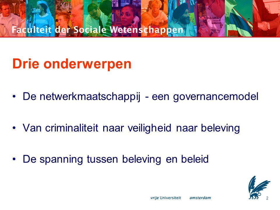 Drie onderwerpen De netwerkmaatschappij - een governancemodel