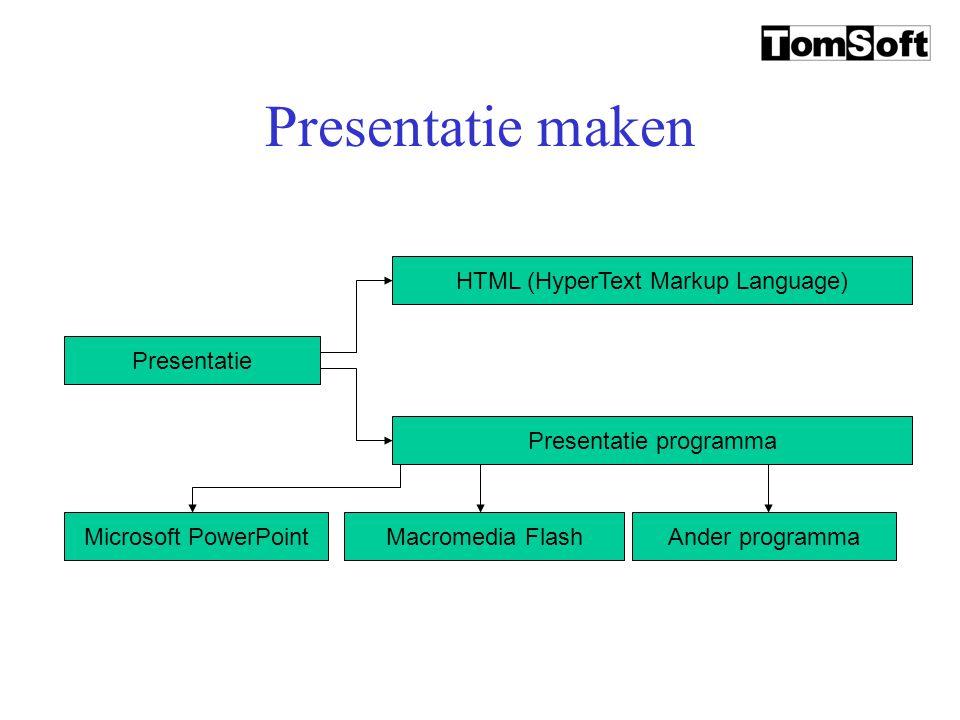 Presentatie maken Presentatie HTML (HyperText Markup Language)