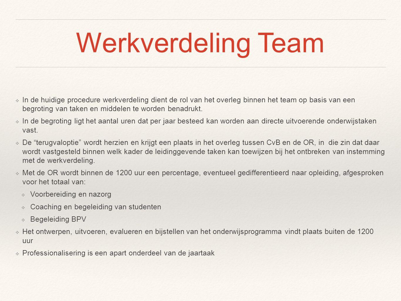 Werkverdeling Team