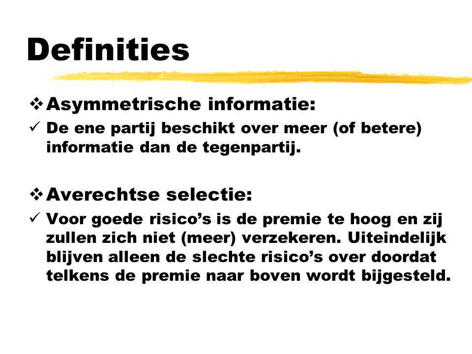 Definities Asymmetrische informatie: Averechtse selectie: