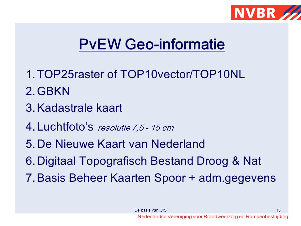 PvEW Geo-informatie 1. TOP25raster of TOP10vector/TOP10NL 2. GBKN