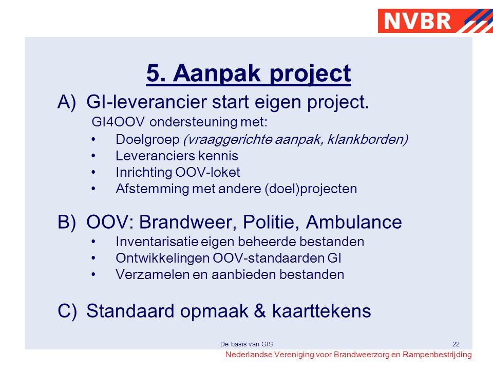 5. Aanpak project A) GI-leverancier start eigen project. GI4OOV ondersteuning met: Doelgroep (vraaggerichte aanpak, klankborden)