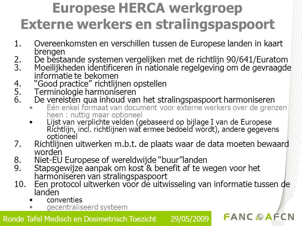 Europese HERCA werkgroep Externe werkers en stralingspaspoort