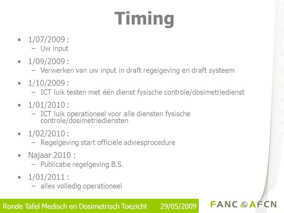 Timing 1/07/2009 : 1/09/2009 : 1/10/2009 : 1/01/2010 : 1/02/2010 :