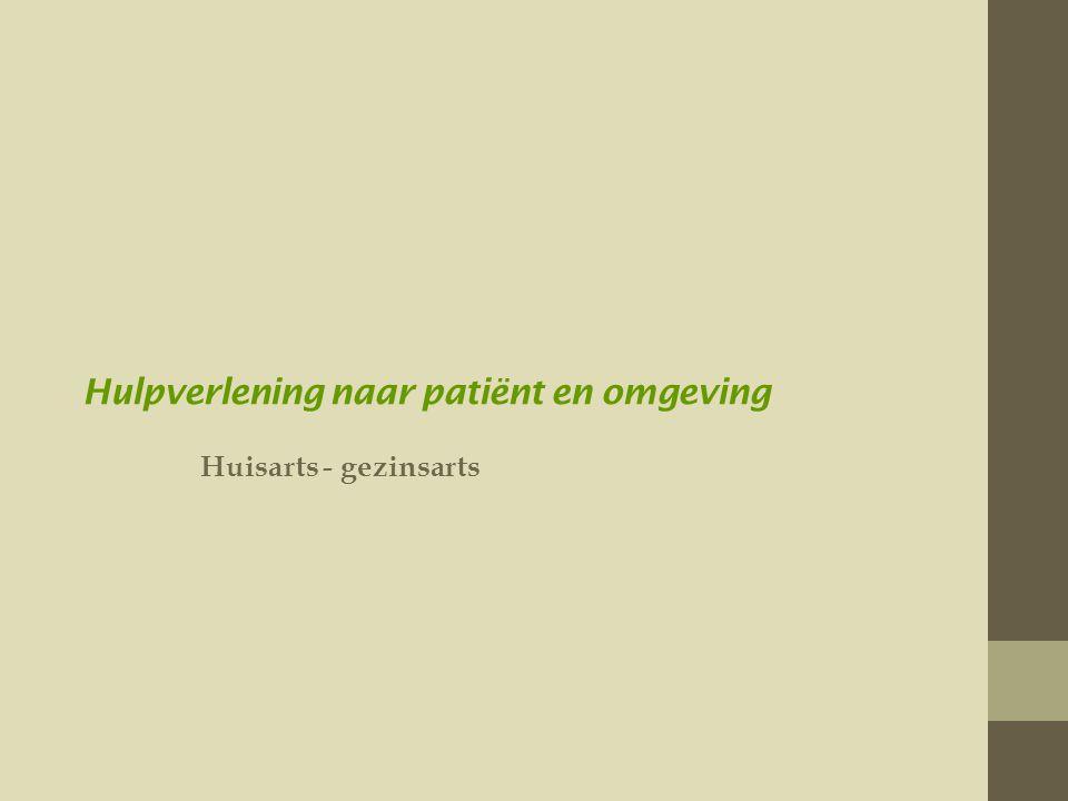 Hulpverlening naar patiënt en omgeving