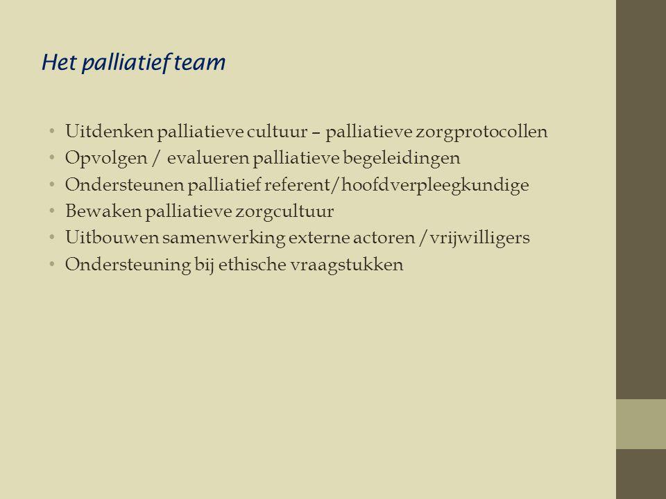 Het palliatief team Uitdenken palliatieve cultuur – palliatieve zorgprotocollen. Opvolgen / evalueren palliatieve begeleidingen.