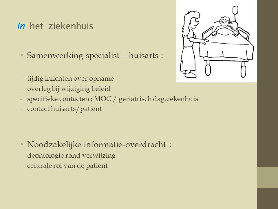 In het ziekenhuis Samenwerking specialist – huisarts :