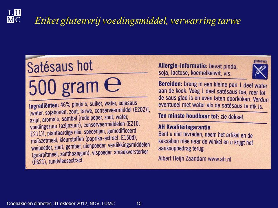 Etiket glutenvrij voedingsmiddel, verwarring tarwe
