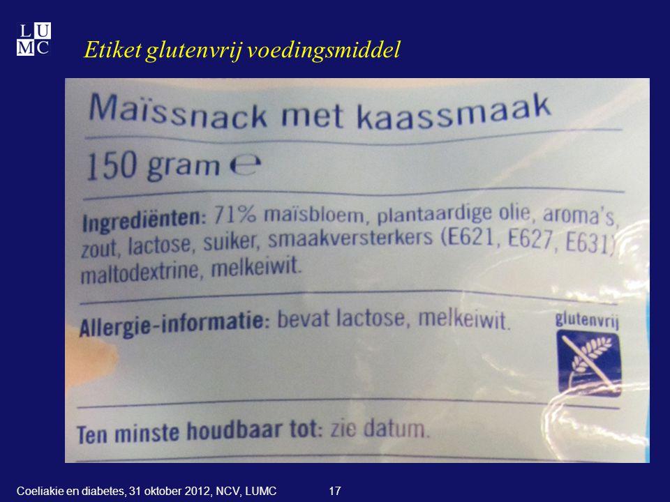 Etiket glutenvrij voedingsmiddel