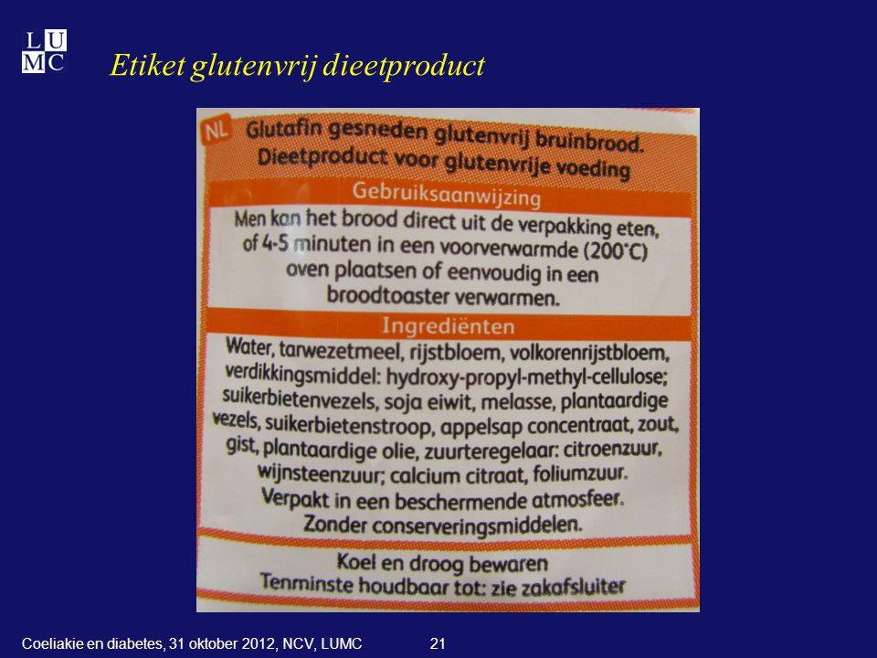 Etiket glutenvrij dieetproduct
