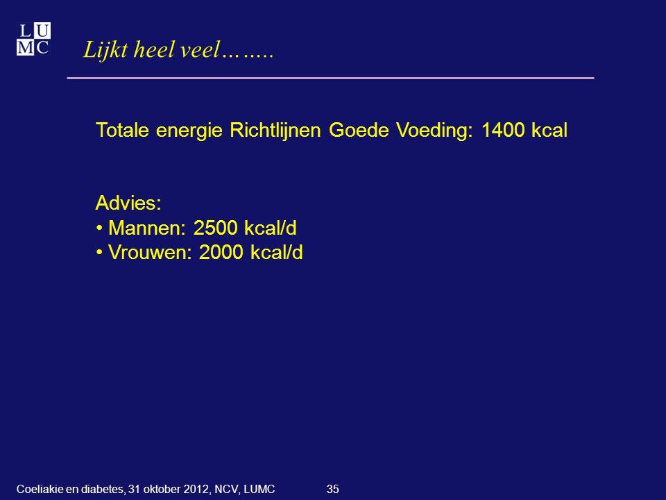 Lijkt heel veel…….. Totale energie Richtlijnen Goede Voeding: 1400 kcal. Advies: Mannen: 2500 kcal/d.