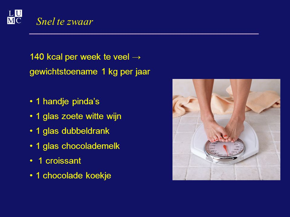 Snel te zwaar 140 kcal per week te veel →