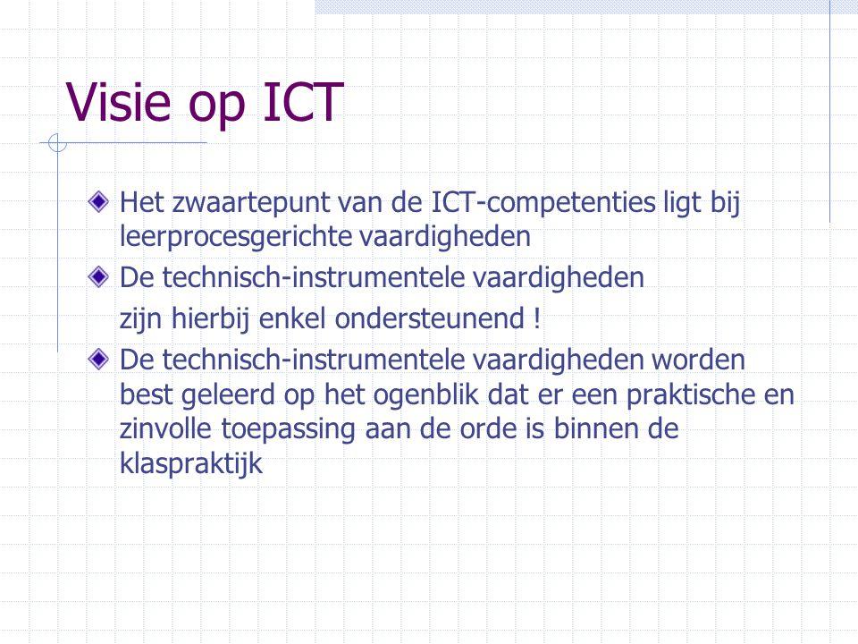 Visie op ICT Het zwaartepunt van de ICT-competenties ligt bij leerprocesgerichte vaardigheden. De technisch-instrumentele vaardigheden.