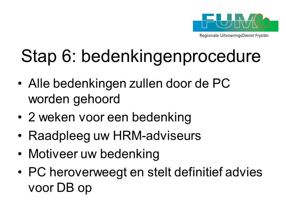Stap 6: bedenkingenprocedure