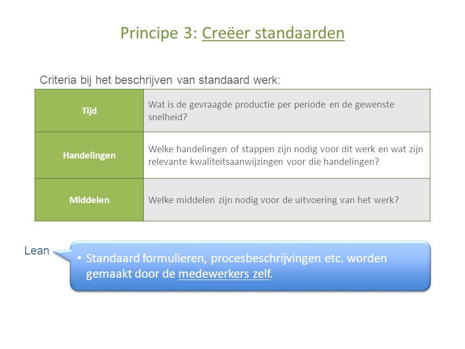 Principe 3: Creëer standaarden