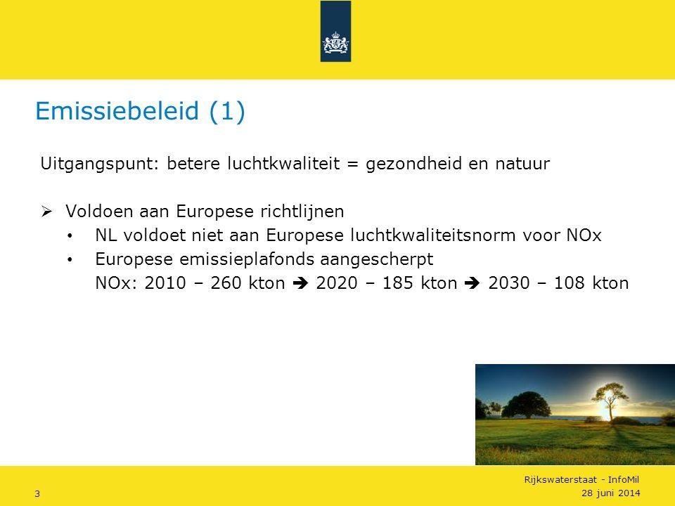 Emissiebeleid (1) Uitgangspunt: betere luchtkwaliteit = gezondheid en natuur. Voldoen aan Europese richtlijnen.