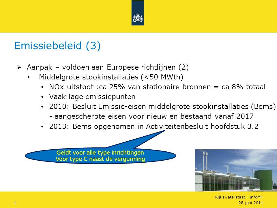 Emissiebeleid (3) Aanpak – voldoen aan Europese richtlijnen (2)