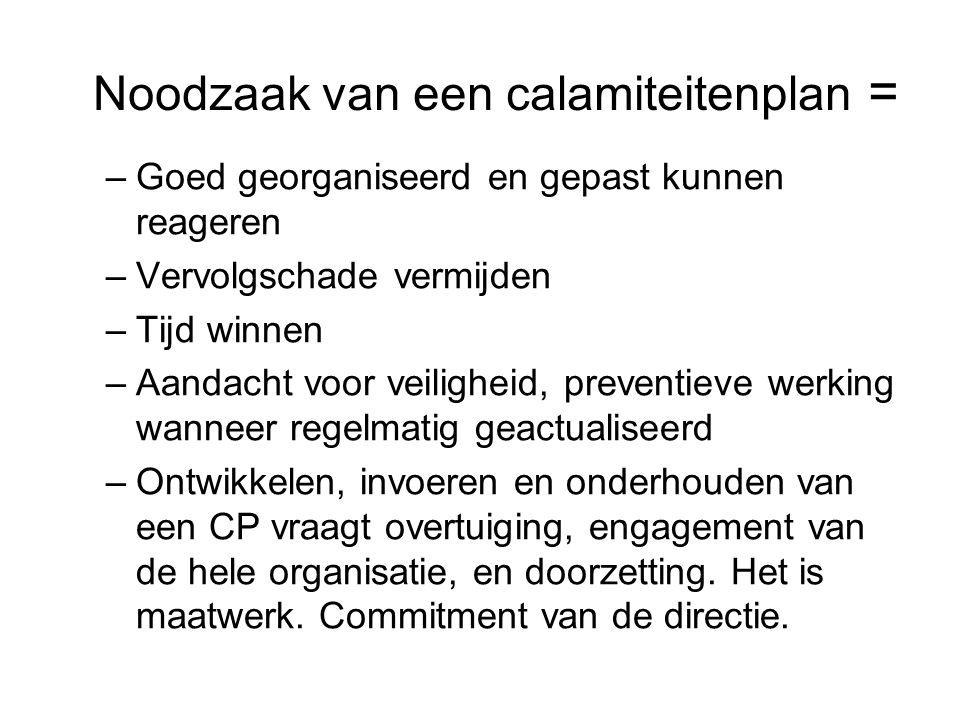 Noodzaak van een calamiteitenplan =
