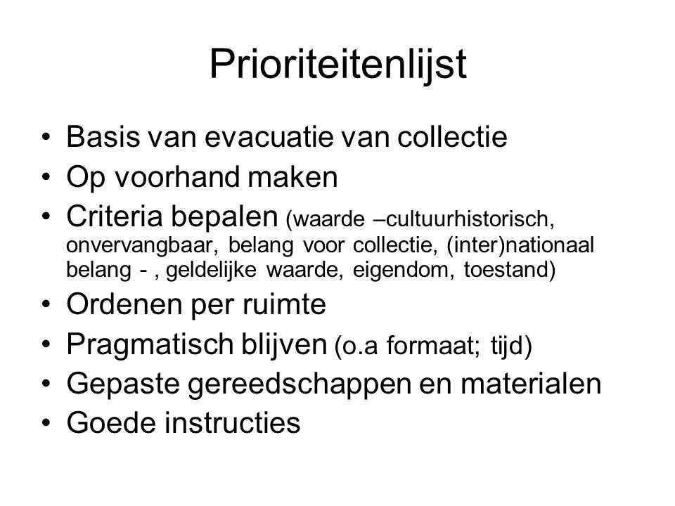 Prioriteitenlijst Basis van evacuatie van collectie Op voorhand maken
