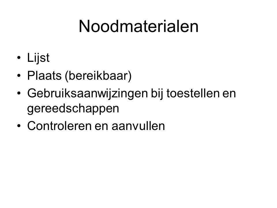 Noodmaterialen Lijst Plaats (bereikbaar)