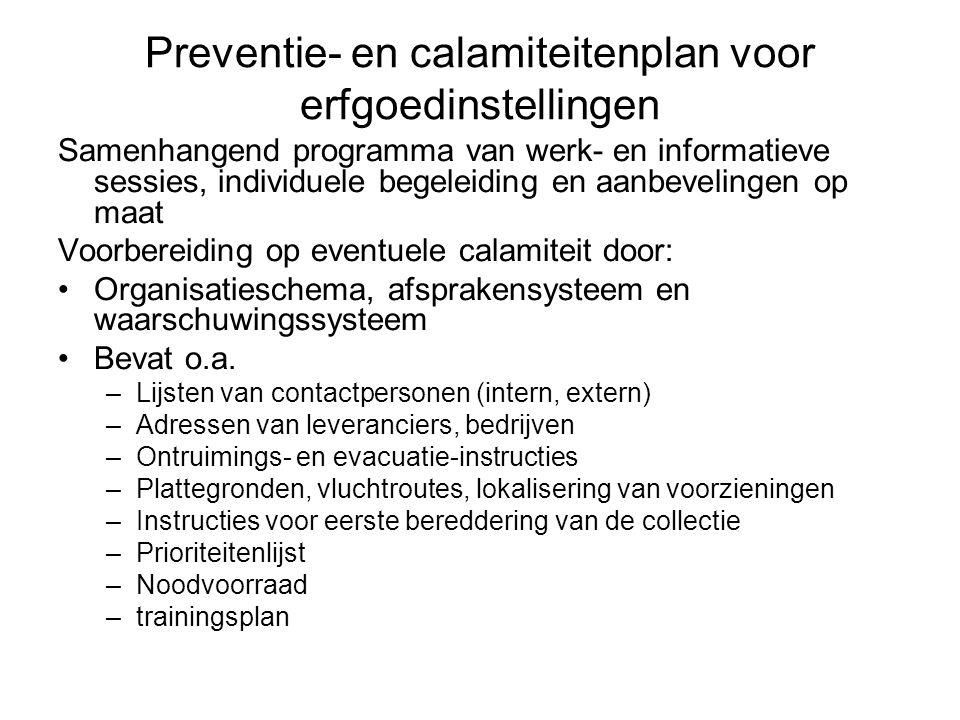 Preventie- en calamiteitenplan voor erfgoedinstellingen