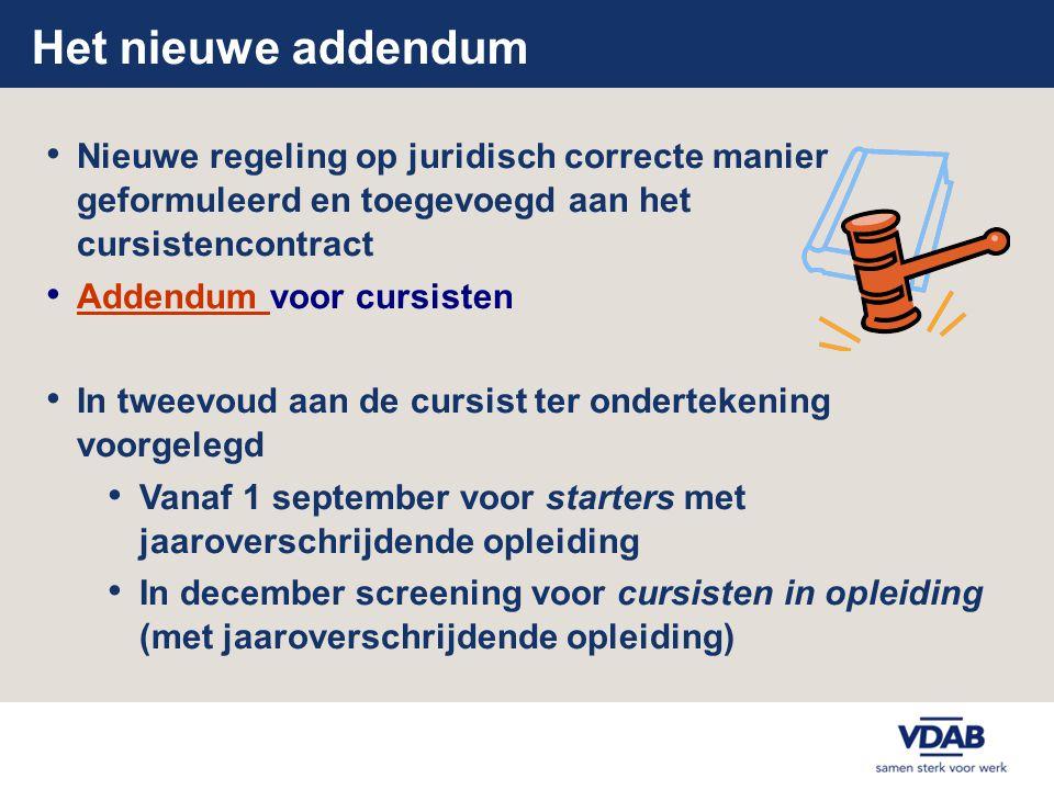 Het nieuwe addendum Nieuwe regeling op juridisch correcte manier geformuleerd en toegevoegd aan het cursistencontract.