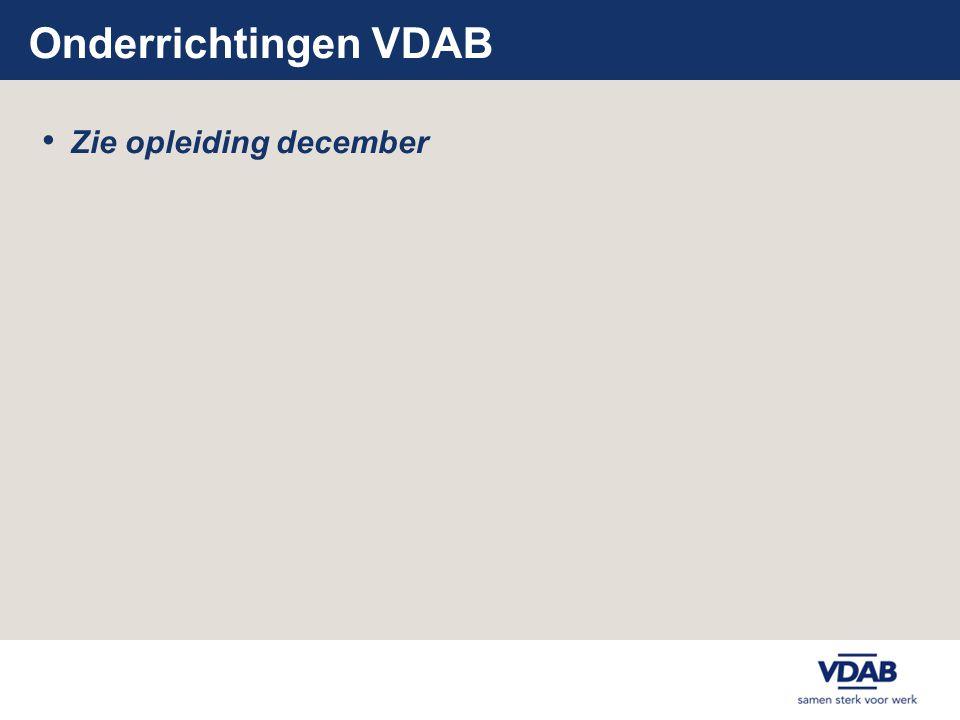 Onderrichtingen VDAB Zie opleiding december
