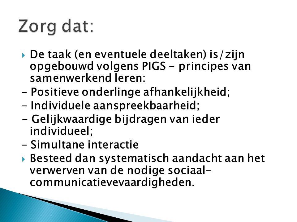 Zorg dat: De taak (en eventuele deeltaken) is/zijn opgebouwd volgens PIGS - principes van samenwerkend leren: