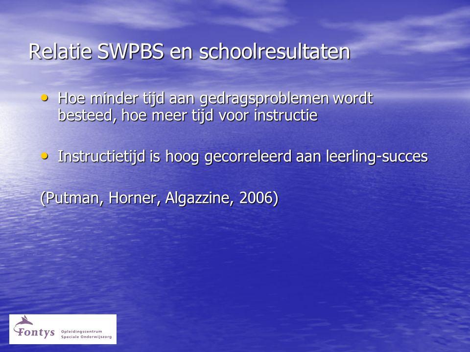 Relatie SWPBS en schoolresultaten